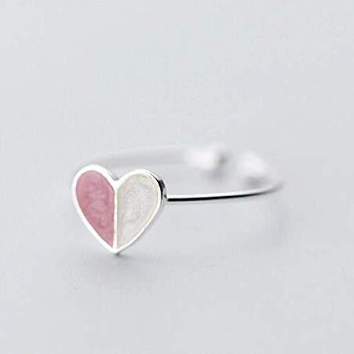 LXLLXL Offene Ringe Für Damen,Vintage Einstellbare Öffnen Silver Heart-Shaped Mosaik Hit Rosa...