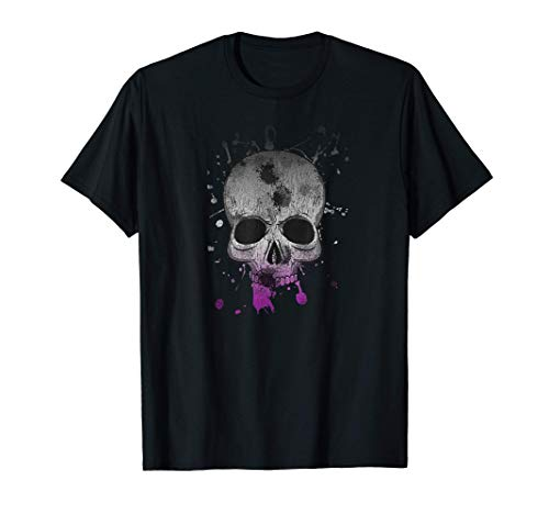 Calavera asexual angustiada de Halloween As Orgullo Splatter Camiseta