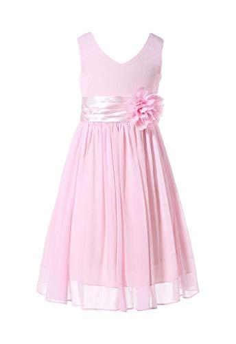 HAPPY ROSE Juniorbrautjungfernkleid Abschlussball-Partykleid Chiffon Blush Pink 8_Jahre