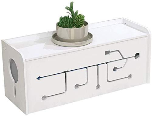 GJJSZ Estantes para enrutador, caja de gestión de cables, organizador de cables, para el hogar, oficina, escritorio, escritorio, centro de entretenimiento para TV, estante blanco