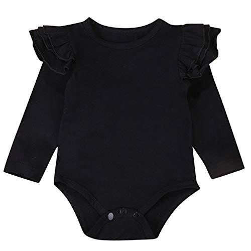 XXYsm Baby Body Tops Strampler Mädchen Blusen T-Shirts Rüschen Langarm Einfarbig Oberteile Schwarz 80/6-12 Monate