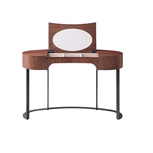 ZHNA Italienisch Minimalist Schminktisch Set Schlafzimmermöbel mit faltbarem Spiegel Nussbaum Farbe Frisierkommode 120x54x77cm