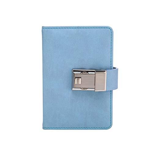 Cuaderno A6 Password Lock Diario Cuaderno Mini Lindo Diario pequeño Fino PU Cuero 4.1'x6.3 Diarios (Color : Blue, tamaño : A6)