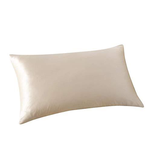 ALASKA BEAR - Natural Silk Pillowcase, Hypoallergenic, 19 Momme, 600 Thread Count 100 Percent Mulberry Silk, King Size with Hidden Zipper (1, Beige)