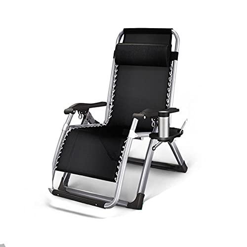 RENEO klappbare Sonnenliege Strandliege, Gartenliege Gartenstuhl Klappstuhl faltbar,Mit Becherhalterung und Verstellbarer Kopfmatte, ergonomischer atmungsaktiver Sun-Chair-Gartenstuhl-schwarz