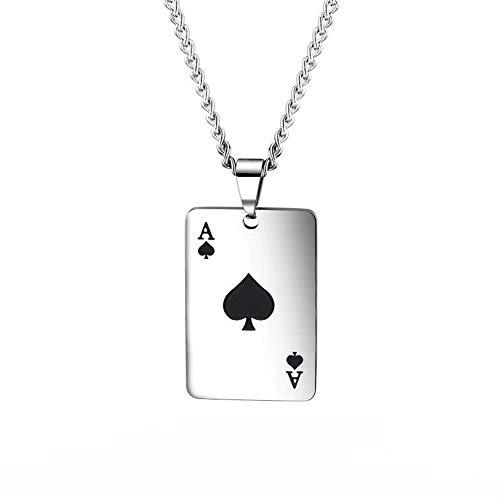 PAURO Collar Hombres Acero Inoxidable Gótico Póker Carta de Juego Personalidad Hip Hop Cadena 24' Negro
