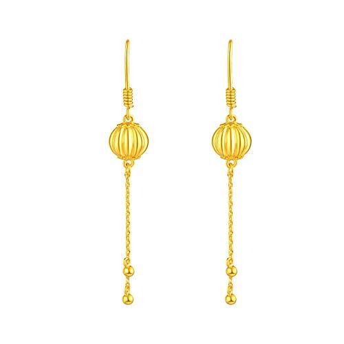 Orecchino BQZB Orecchini in oro giallo puro 24K Orecchini da donna con ciondolo Lanterna cinese 7.36g