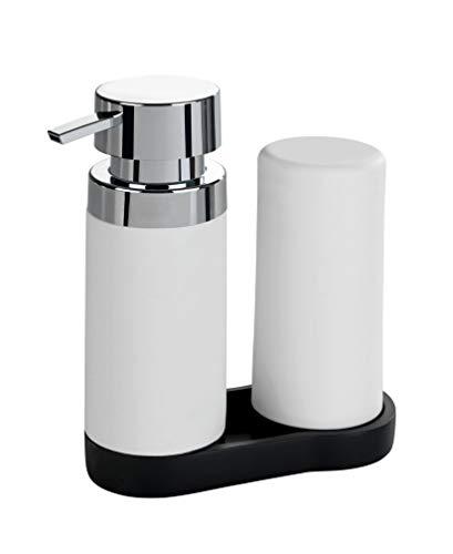 WENKO Easy Squeez-e Spülstation Weiß - Seifenspender und Spülmittelspender Fassungsvermögen: 0.25 l, Polyresin, 15 x 18 x 7 cm, Weiß