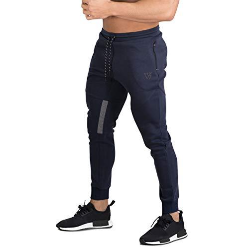 BROKIG Pantalones de Chándal de Gimnasio para Hombre Joggers Chándal Vertex para Jogging Pantalones para Correr con Bolsillos Azul L