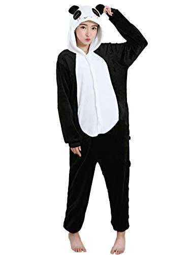 LATH.PIN Panda Kostüm Halloween Cosplay Kigurumi Einteiler Erwachsene Unisex Tier Pyjama Lounge Wear Schlafanzug - Weiß - X-Large (181/187 cm)