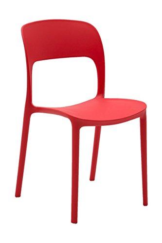 Fashion Commerce Set da Quattro Sedie in Polipropilene, Rosso, 4 unità