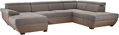 Mivano U-Form-Sofa Speedway, Moderne Wohnlandschaft mit verstellbaren Kopfteilen, 332 x 79 x 222, Zweifarbiger Bezug, Grau/Braun