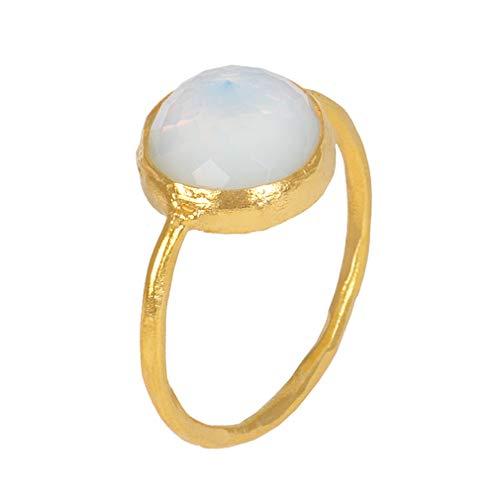 Sarah Bosman Ring Damen Gold Blue Moonstone - Damenring Silber Vergoldet Eingefasster Mondstein Hell-Blau - 9 mm Durchmesser - Größe 56 - SAB-R02BLUMOOg-56