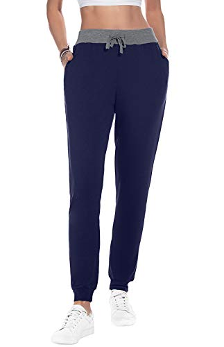 YUNDAI Women Active Joggers Petite Sweatpants Tapered Teen Girl Yoga Lounge Travel Pants with Pockets M, Navy Blue