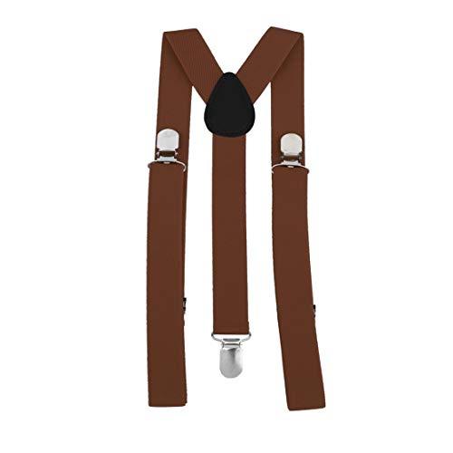 Kaemma Unisexe Femmes Hommes Forme Y Élastique Clip-on Bretelles Sangle Pantalon Bretelles Bretelles Réglables Adulte 3 Clip Bretelle Ceinture (Café Clair)
