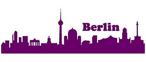 Samunshi® Berlin Skyline Aufkleber Berlin Sticker in 9 Größen und 25 Farben (20x6,3cm violett)