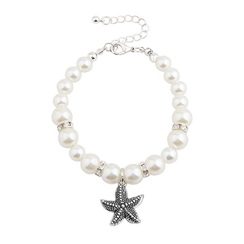 WUSUANED Faux Pearl Starfish Charm Bracelet Summer Beach Jewelry For Bridesmaids Wedding Gift (pearl starfish)