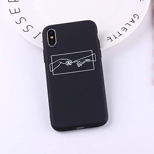 KESHOUJI Mona Lisa Art David Lines Painted Pattern Soft Matte Candy Phone Case Fundas para iPhone 11 Pro 7 7Plus 6S 5 8 8Plus X XS MAX, 4, para iPhone 11 Pro