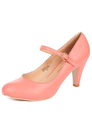 Chase & Chloe Damen Kimmy-38 Runde Zehen Mid Heel Mary Jane Stil Kleid Pumps Schuhe, Orange (pfirsich), 38 EU