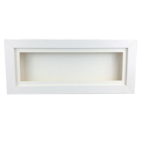 White 3D 1' Cube Range Deep Box Shadow Frame Memory Box Display Panoramic-24x12'-White