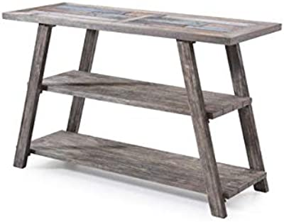 Wood Console Table with Ceramic Tile Top - Console Table with 2 Shelves - Driftwood Gray