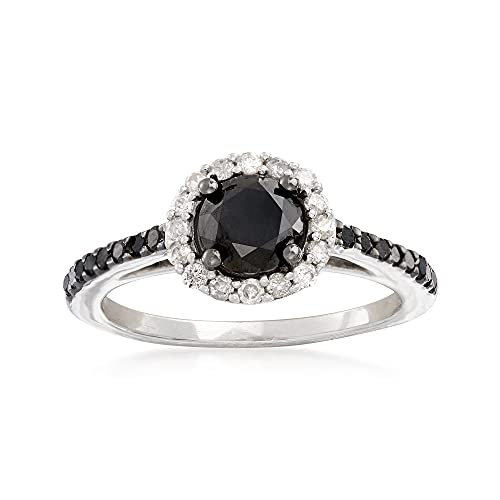 Ross-Simons 1.50 ct. t.w. Black and White Diamond Halo Ring in...