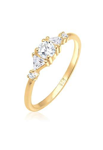 Elli PREMIUM Ring Damen Triangle Funkelnd mit Zirkonia Kristallen in 925 Sterling Silber