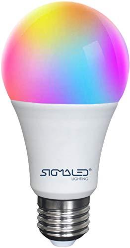 SIGMALED LIGHTING 1 LAMPADINA SMART LED, Attacco E27, Lampadina WIFI A60, 9W, 810 LM (=60W), Dimmerabile, RGB, Bianco (CCT 2700K - 6500K), Lampadine per Alexa, Google Assistant, Tuya APP