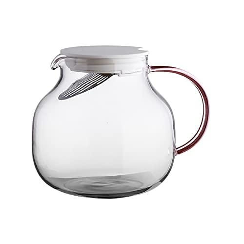 liangzishop Jarra de Agua Cristal Plaza de Vidrio de borosilicato con colador de Acero Inoxidable Capacidad de Gran Capacidad de Agua fría Tetera para té Helado, sangría, Limonada Jarras de Vidrio