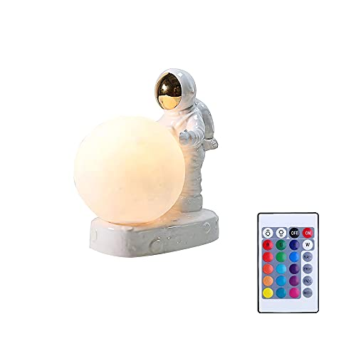 Astronaut Moon Night Light, 16 colores de iluminación que cambian la lámpara LED de impresión 3D con control remoto y soporte para dormitorio, sala de estar, estudio, niños, regalo del día de la madre