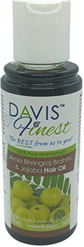 Davis Finest Amla Bhringraj Brahmi Aceite de jojoba para el crecimiento del cabello, caída del cabello, pérdida de cabello, cabello más fuerte, más grueso, más largo, hombres y mujeres 110 ml