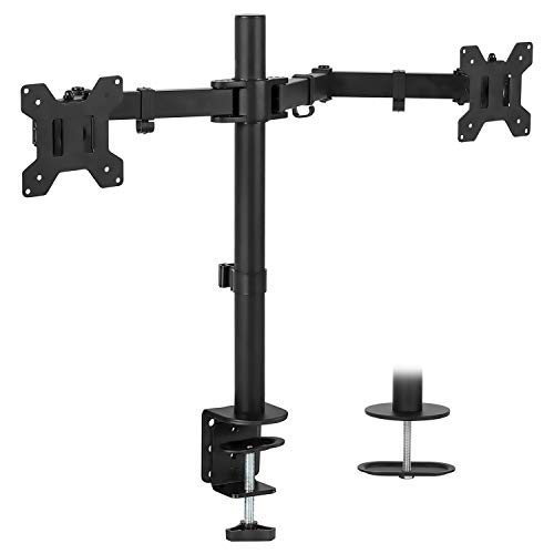 Mount-It! Dual Monitor Mount | Double Monitor Desk Stand | Two Heavy Duty Full Motion Adjustable...