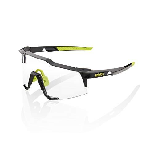 100 Percent SPEEDCRAFT-Gloss Black-PHOTOCHROMIC Lens Gafas, Hombres, Negro-Cristal Transparente, Mediano