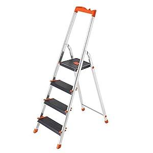 SONGMICS Escalera de 4 Peldaños, Escalera de Aluminio con Peldaños de 12 cm de Ancho, Escalera Plegable con Bandeja y Pies Antideslizantes, Carga de 150 kg, TÜV Rheinland Test, GS EN131, Negro GLT04BK