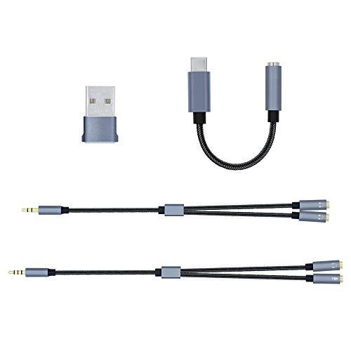Mcbazel 4 en 1 Kit de cable de de audio USB 2.0 a USB-C/Cable de audio estéreo divisor en Y de 3,5 mm/Y Splitter Micrófono Auriculares Cable de audio/Adaptador de auriculares USB tipo C a 3,5 mm