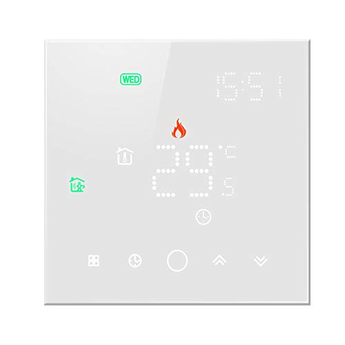 Termostato WiFi per Caldaia a Gas,Termostato Wi-Fi Schermo LCD(Vetro temperato) Touch Button Retroilluminato Programmabile con Alexa Google Home e Telefono App (Bianco)