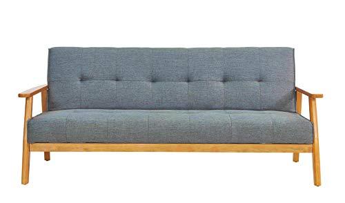 Sit Möbel Sit4Sofa Schlafsofa, dunkelgrau Gestell Eukalyptus, Bezug Stoff L = 190 x B =85 x H = 81 cm Gestell Natur, Bezug dunkelgrau