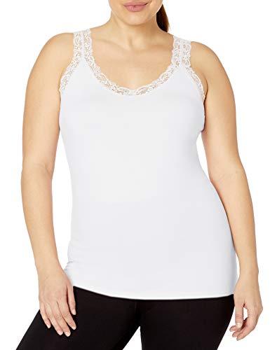 Just My Size Women's Plus Size Stretch Jersey Lace Trim Tank, Black, 2X Black Crinkle Tank Top