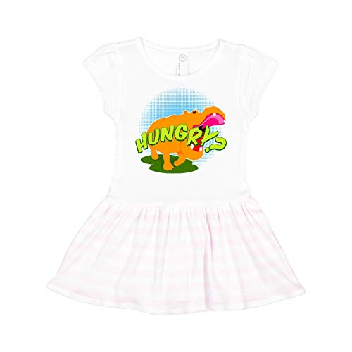 inktastic Hungry Hippo Toddler Dress 3T White and Pink 11245
