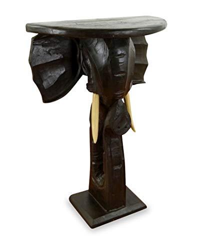 livasia Halbrunder Holztisch, Konsolentisch, schwarzer Beistelltisch