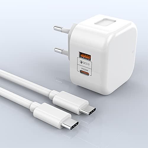 20W USB C PD + 18W QC USB A Cargador, PD y QC3.0 Cargador de Pared rápido Adaptador de Suministro de energía Compatible con iPhone 12/12 Mini/12 Pro/12 Pro Max/11 Pro MAX/SE, Pad, Samsung, Huawei