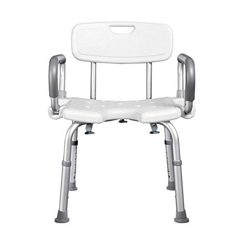 ZPTAT Duschstuhl für Senioren mit Abnehmbare Armlehne und Rückenlehne, Höhenverstellbar für Erwachsene und Behinderte Duschhocker, U-Form Bad Duschsitz Sicherheit Duschhilfe