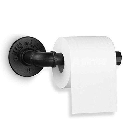 ABWYB Portarrollos de Papel higiénico Negro Estilo Industrial Vintage, toallero Retro montado en la Pared para baño, Cocina, toallero de Hierro, taladrado, fácil Montaje, Ahorro de Espacio, Decora