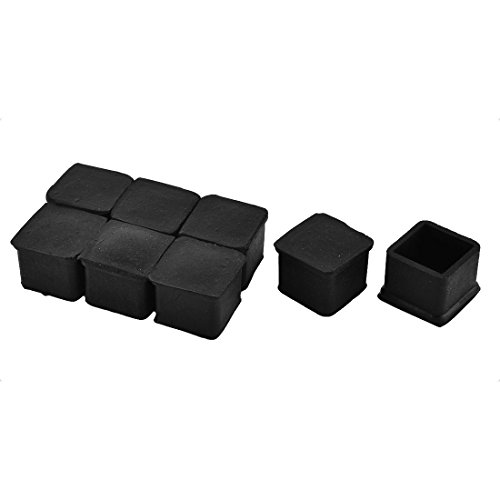 Antrader 1 Inch x 1 Inch Square Rubber Covers Furniture Foot Table Chair Leg End Cap Cover Tip Protectors Black, Pack of 12