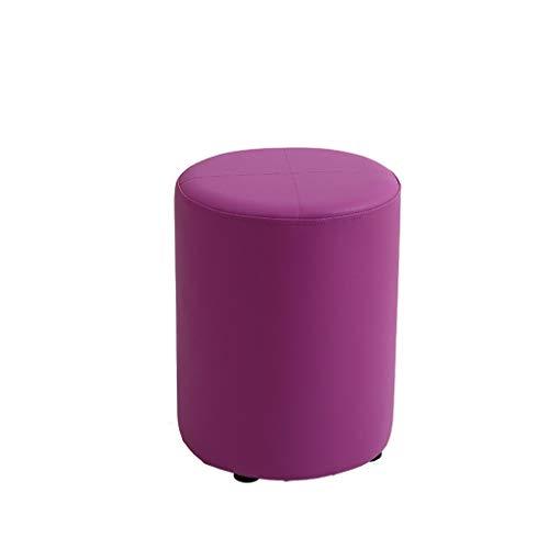 GXT Sofá heces del Color del Caramelo de la PU Inicio pequeño Taburete Simple Creativo de la Sala pequeña banca Perezosos Zapatos Estable (Color : Purple)