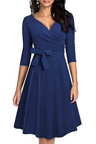 HOMEYEE Vestido de Cóctel con Cuello en V y para Mujer Vintage de los años 50 con Cinturón A240 (XL, Azul Oscuro)