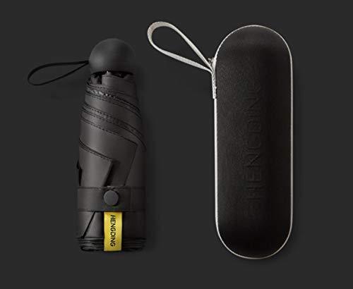 UYG Mini-Kapsel-Regenschirm für Damen, Sonnenschutz, UV-Schutz, Faltbarer Damen-Taschenschirm, Schwarz