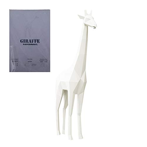 Papercraft DIY 3D jirafa papel animales 1 metro de altura decoración de pared Papercraft Building Kit Origami papel modelo ornamental DIY juguete para niños pequeños (blanco)