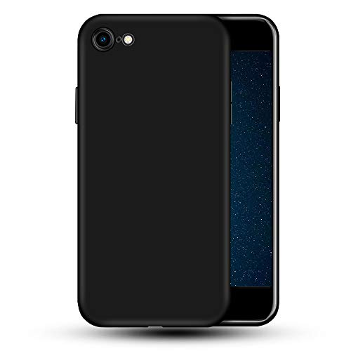 vbest Compatible with iPhone se 2020 Silicone Case, iPhone 8 Silicone Case, iPhone 7 Silicone Case, Liquid Silicone Soft Rubber Protective Phone Case Full Protection Cover Black