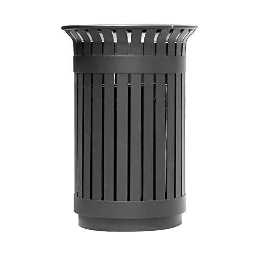 Standaschenbecher 60 Liter Outdoor Metalllamellen-Mülleimer, Creative Outdoor Trash, Schwarz Aschenbecherbehälter